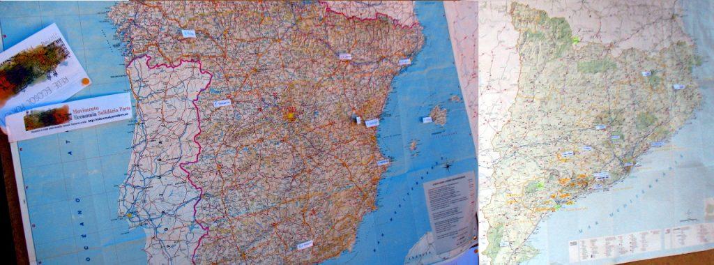 """Mapa de eco-redes presentes no quinto """"encontro de eco-redes e moedas livres""""."""